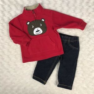 Carter's Baby Boy Outfit Fleece Pullover Jeans 6M